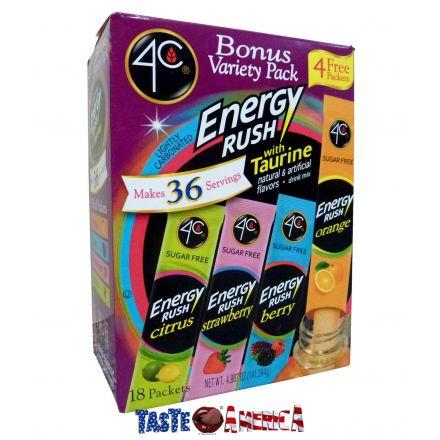 4C Totally Light To Go Energy Rush Variety 16 Sachet Drink Mix 141.3g