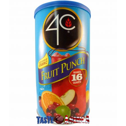 4C Fruit Punch Powder Drink Mix Makes 16 Quarts 1.02kg Canister