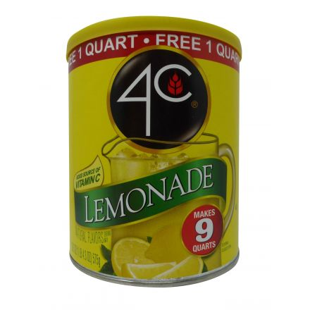 4C Lemonade Powdered Drink Mix Makes 9 Quarts In A 575g Canister