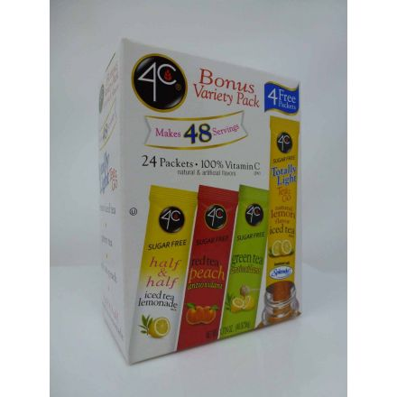4C Totally Light Tea 2 Go Iced Tea Mix 24ct Variety Pack In A 48.8736g Box