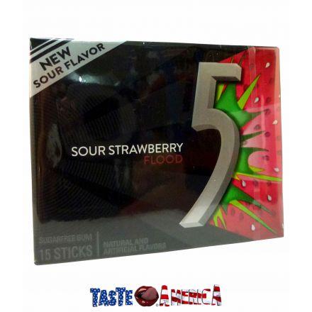5 Gum Sour Strawberry Flood Sugar Free Chewing Gum 15 Stick Pack