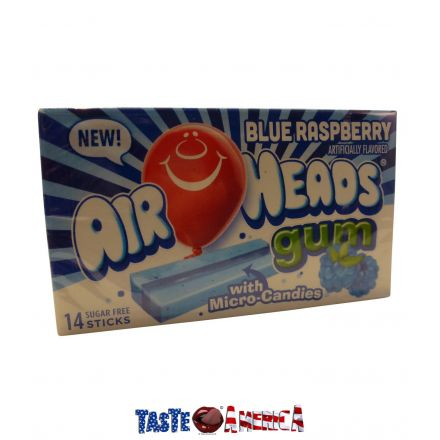 Air Heads Blue Raspberry Flavoured Sugar Free Chewing Gum With Micro Candies 14 Stick Pack