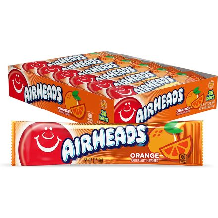 Airheads Orange Flavoured Chewy Fruity Candy Bar 36 ct Box