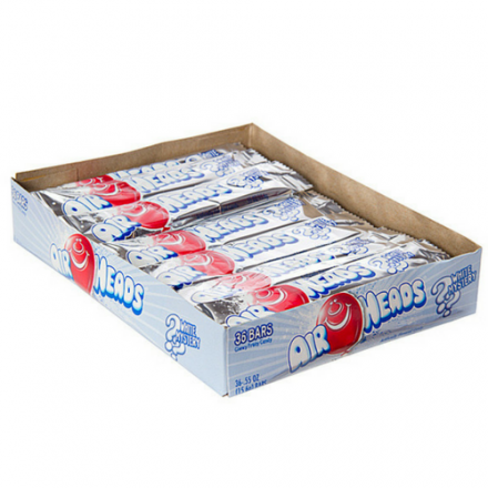 Airheads White Mystery Flavoured Chewy Fruity Candy Bar 36 ct Box