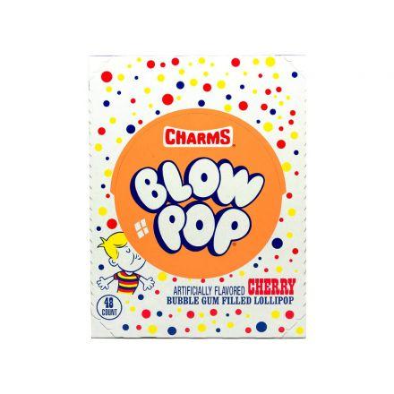 Charms Blow Pops Cherry Flavoured Bubble Gum Filled Lollipops 48ct 884g