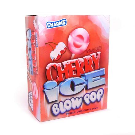 Charms Blow Pops Cherry Ice Cherry Flavoured Bubble Gum Filled Lollipops