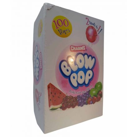 Charms Blow Pop Assorted Bubble Gum Filled Pops 100 Count In A 1.84kg Box