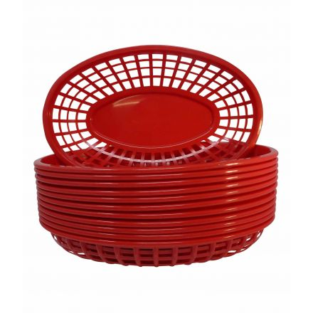 Commercial Red Plastic Food Baskets Pack Of 12 For Serving Food