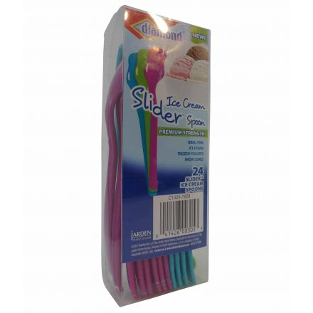 Diamond Ice Cream Slider Spoons Pack Of 24 Multi-Coloured
