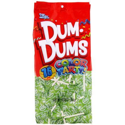 Dum Dums Color Party Original Pops Sour Apple Bright Green 75 Lollipops 363g Bag