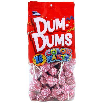 Dum Dums Color Party Original Pops Watermelon Hot Pink 75 Lollipops 363g Bag