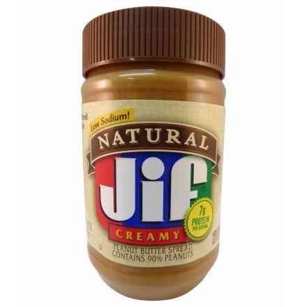 Jif Low Sodium Natural Creamy Peanut Butter In A 454g Jar