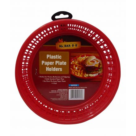 Mr Bar B Q Round Food Baskets Pack Of 4 In Red Colour