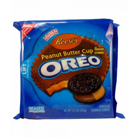 Oreo Reeses Peanut Butter Cup Crème Chocolate Cookies In A 345g Pack