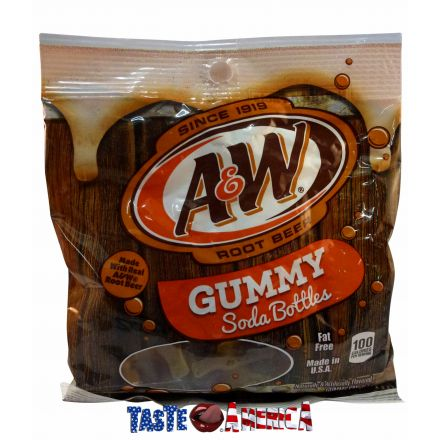 A & W Root Beer Flavoured Gummy Soda Bottles 128g Bag A&W