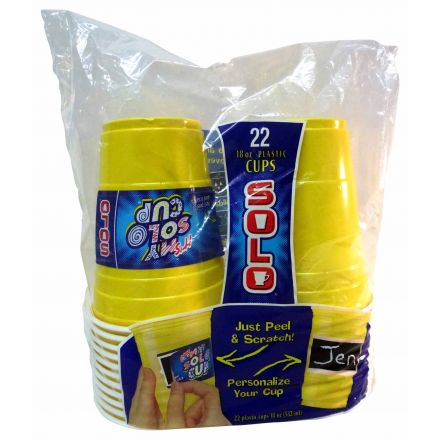 Solo Yellow Personalize Your Cups Just Peel & Scratch 18 oz - 22 Pack