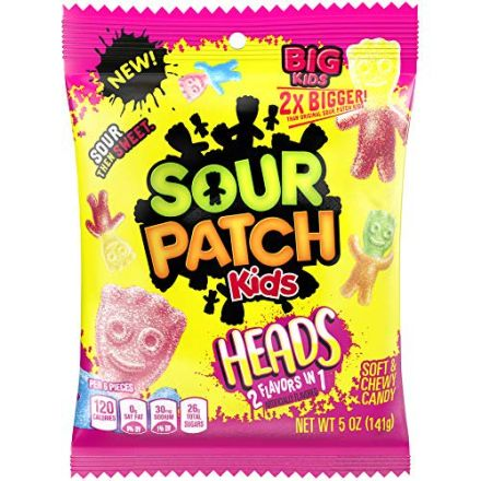 Sour Patch Kids Heads Soft & Chewy Candy 141g